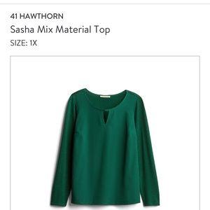 x1 - 41 Hawthorn Mixed Material Long Sleeve Top